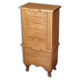 Jewelry Armoire-Qn.Anne-Med,oak-no R.P.Doors