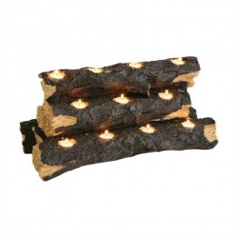 Southern Enterprise Sierra Tealight Fireplace Log in Rustic Brown