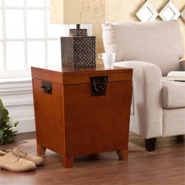 Southern Enterprises Pyramid Storage Trunk End Table in Mission Oak