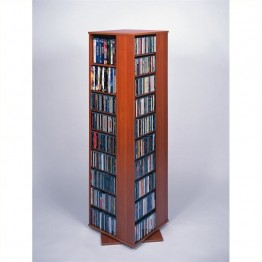 "Leslie Dame 62"""" CD DVD Spinning Tower in Cherry"