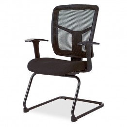 Lorell 86000 Series Mesh Side Arm Guest Chair in Black