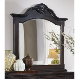 Coaster Cambridge Shell Carving Mirror in Dark Cherry