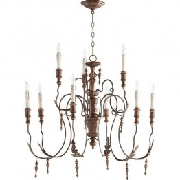 Quorum Salento 9 Light Chandelier in Vintage Copper