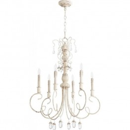 Quorum Venice 6 Light Chandelier in Persian White