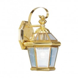 Livex Georgetown Outdoor Wall Lantern in Polished Brass