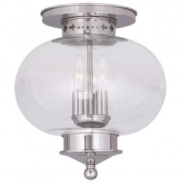 Livex Harbor Ceiling Mount in Polished Nickel