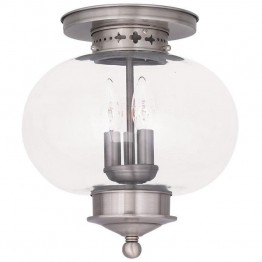 Livex Harbor Ceiling Mount in Brushed Nickel