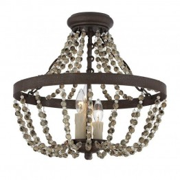 Savoy House Mallory 3 Light Convertible Semi-Flush in Fossil Stone