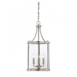 Savoy House Penrose 3 Light Small Foyer Lantern in Satin Nickel