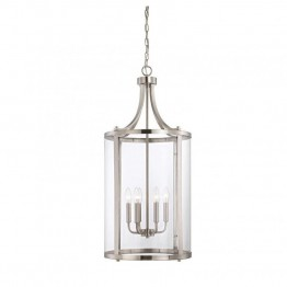 Savoy House Penrose 6 Light Medium Foyer Lantern in Satin Nickel