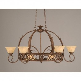 "Toltec Leaf 8 Light Pot Rack with 8 Hook in Bronze with 7"""" Italian Marble Glass (Pots Not Included)"