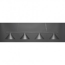 "Toltec Oxford 4 Light Bar in Brushed Nickel with 14"""" Brushed Nickel Cone Metal Shades"