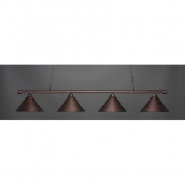 "Toltec Oxford 4 Light Bar in Bronze with 14"""" Bronze Cone Metal Shades"