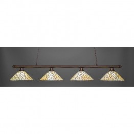 "Toltec Oxford 4 Light Bar in Bronze with 16"""" Sandhill Tiffany Glass"