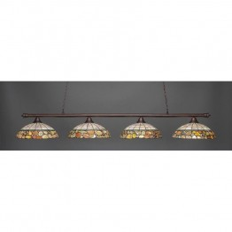 "Toltec Oxford 4 Light Bar in Bronze with 16"""" Cobblestone Tiffany Glass"