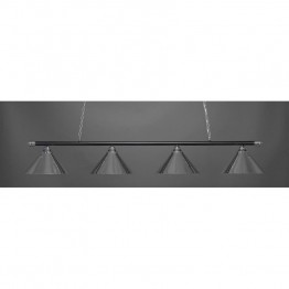 "Toltec Oxford 4 Light Bar in Chrome And Matte Black with 14"""" Chrome Cone Metal Shades"