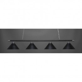 "Toltec Oxford 4 Light Bar in Chrome And Matte Black with 14"""" Matte Black Cone Metal Shades"