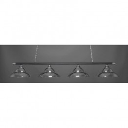 "Toltec Oxford 4 Light Bar in Chrome And Matte Black with 16"""" Chrome Double Bubble Metal Shades"""""