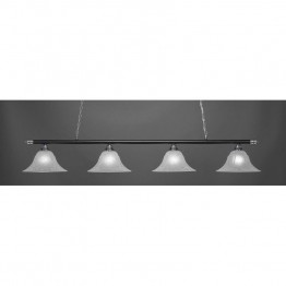 "Toltec Oxford 4 Light Bar in Chrome And Matte Black with 14"""" White Marble Glass"
