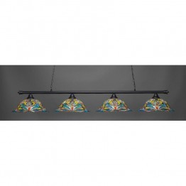 "Toltec Oxford 4 Light Bar in Matte Black with 19"""" Kaleidoscope Tiffany Glass"