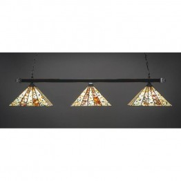 "Toltec Square 3 Light Bar with Square Fitters with Square Fitters in Brushed Nickel with 14"""" Fiesta Tiffany Glass"
