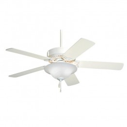 "Emerson Pro Series 50"""" Ceiling Fan with Light in Appliance White"