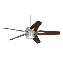 "Emerson Luxe Eco 54"""" Modern Ceiling Fan in Brushed Steel and Dark Mahogany"