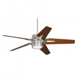 "Emerson Luxe Eco 54"""" Modern Ceiling Fan in Brushed Steel and Walnut"