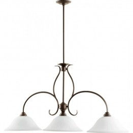 Quorum Spencer 3 Light Island Light in Oiled Bronze and Satin Opal