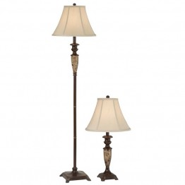 Pacific Coast Lighting Kelsey 2 Piece Lamp Set in Old World Brass