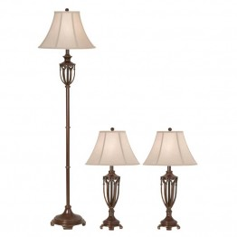 Kathy Ireland by Pacific Coast Estate 3 Piece Lamp Set in Cappuccino