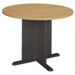 Bush Business Furniture Round 3.4 Conference Table Light Oak and Gray