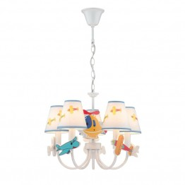 Lite Source Aeroplani 5 Light Kids Chandelier in White