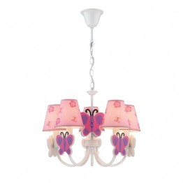 Lite Source Farfalla 5 Light Kids Chandelier in Pink