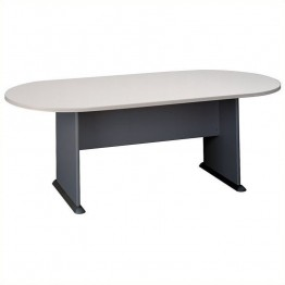 Bush Business Furniture Racetrack Conference Table in White Spectrum