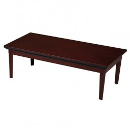 Mayline Corsica Rectangular Coffee Table-Mahogany on Walnut Veneer