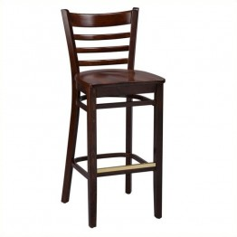 "Regal Seating Sutherland 30"""" Stool with Back-Mahogany / Brass"