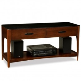 "Leick Obsidian 50"""" Glass Top TV Stand in Chestnut"