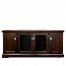 "Leick Riley Holiday 56"""" Corner TV Stand in Chocolate Cherry"