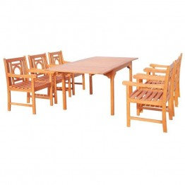 Vifah Malibu 7 Piece Extendable Patio Dining Set in Natural