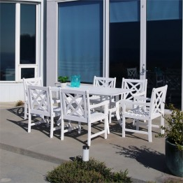 Vifah Bradley 7 Piece Patio Dining Set in White