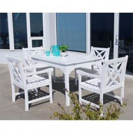 Vifah Bradley 5 Piece Patio Dining Set in White