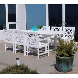 Vifah Bradley 7 Piece Extendable Oval Patio Dining Set in White