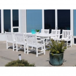 Vifah Bradley 7 Piece Oval Extendable Patio Dining Set in White