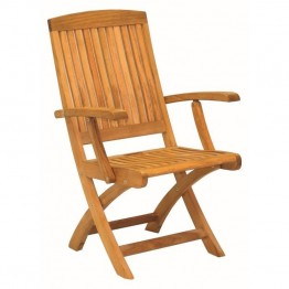 Three Birds Casual Braxton Patio Dining Arm Chair in Teak (Set of 2)