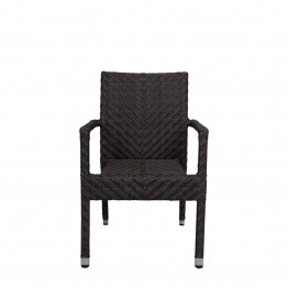Source Outdoor Miami Patio Dining Arm Chair in Espresso