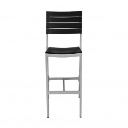 Source Outdoor Vienna Armless Patio Bar Stool in Black