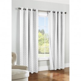 "Commonwealth Thermalogic Iron Gate 84"""" Grommet Curtain Panel in White"