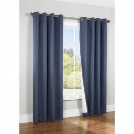 "Commonwealth Thermalogic Iron Gate 84"""" Grommet Curtain Panel in Navy"