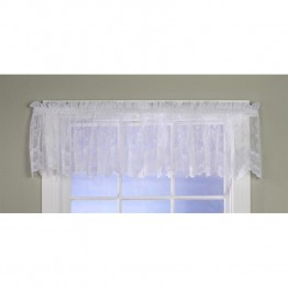 Commonwealth Mona Lisa Bridal Lace Rod Pocket Valance in White